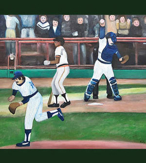 Painter - Baseball Oil Painting of Rollie Fingers and Ted Simmons of the Milwaukee Brewers 1982 - baseball sports art