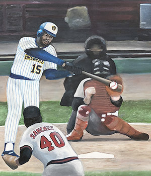 Painter - Baseball Oil Painting of Cecil Cooper of the Milwaukee Brewers 1982 - baseball sports art