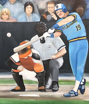 Painter - Baseball Oil Painting of Robin Yount of the Milwaukee Brewers 1982 - baseball sports art