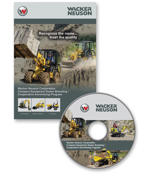 Package Designer - Wacker Neuson Corporation Co-op CD Packaging Labels containing construction equipment product photography, radio scripts, branding guidelines, vehicle identification branding, advertising templates - advertsing ad slicks, and billboard template